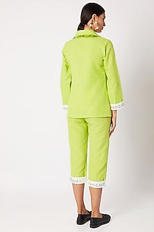 Green Shirt With Trouser Pants & Scarf by Nochee Vida