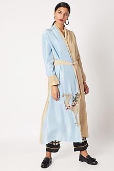 Beige & Sky Blue Hand Embroidered Silk Robe by Nochee Vida