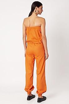 Apricot Orange Off-Shoulder Jumpsuit by Nochee Vida