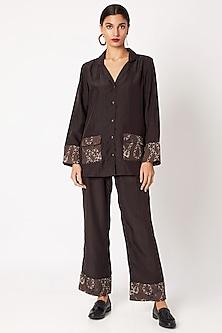 Brown Silk Pyjama Set by Nochee Vida