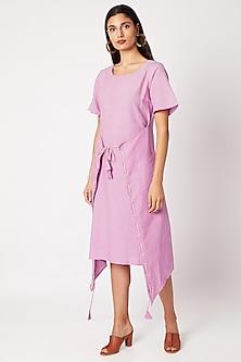 Lilac Wrap Lace-Up Dress by Nochee Vida