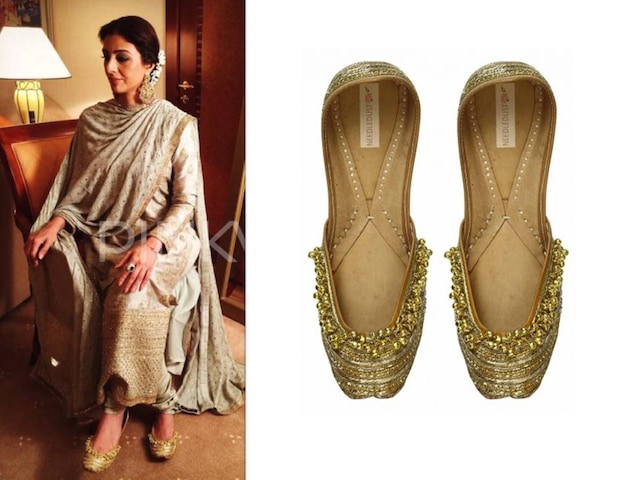 "Gold ""Forever yours"" dabka embroidered and gold ghunghroos juttis by Needledust"