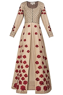 Beige Embroidered Anarkali Set by Neeta Lulla