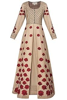 Beige Embroidered Anarkali Set by Neeta Lulla