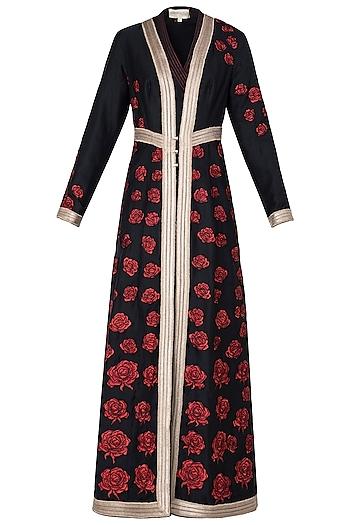 Black Rose Patchwork Embroidered Anarkali Set by Neeta Lulla
