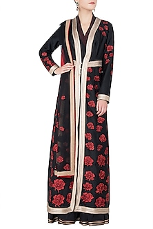 Black Rose Patchwork Embroidered Anarkali Set by Neeta Lulla
