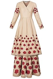 Beige Rose Patchwork Embroidered Short Anarkali Set by Neeta Lulla
