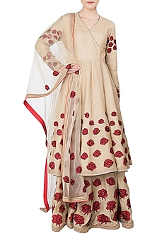 Beige Rose Patchwork Embroidered Short Anarkali Set by Neeta Lulla