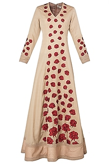 Beige Red Rose Patchwork Embroidered Anarkali Set by Neeta Lulla