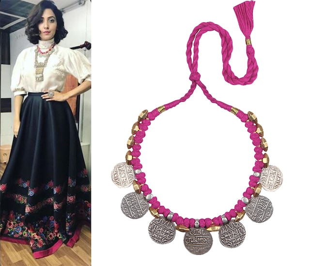 Silver Finish Beaten Coin Red Thread Necklace by Sangeeta Boochra