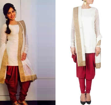 White and red kurta set with embroidered dupatta by Payal Singhal