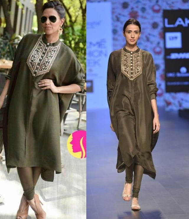 Moss green oversized kurta with green churidaar pants by Payal Singhal