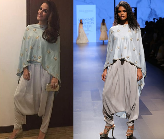 Powder Blue Embroidered Cape with Dove Grey Pleated Pants. by Payal Singhal