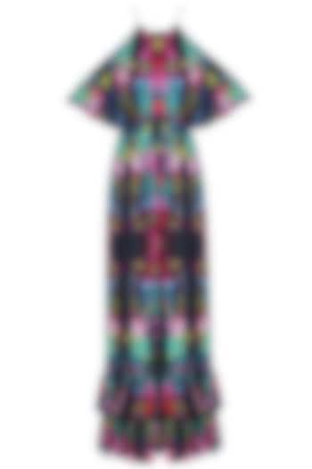 Deep Blue Digital Printed Cold Shoulder Gown by Neha Taneja