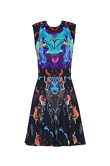 Black Digital Printed Skater Dress by Neha Taneja