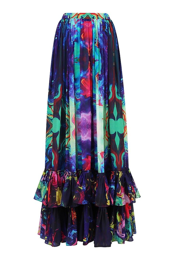 Sea Green Digital Printed Ruffled Long Maxi Skirt by Neha Taneja