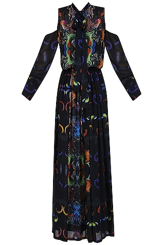 Black Digital Printed Cold Shoulder Sheer Gown and Slip Dress by Neha Taneja