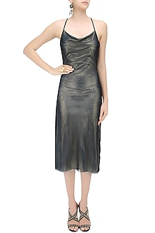Metallic Blue Knee Length Fitted Slip Dress by Neha Taneja