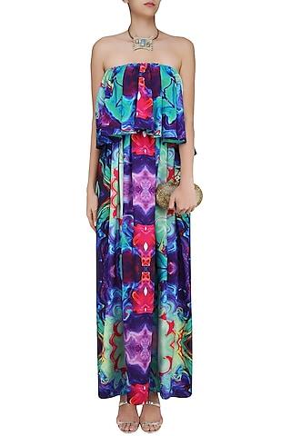 Sea Green Digital Printed Tube Overlay Gown by Neha Taneja
