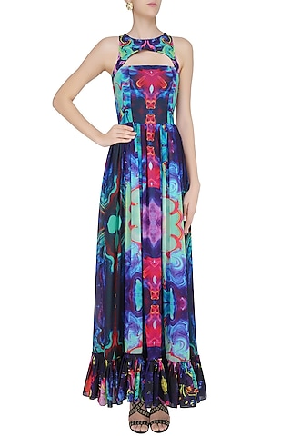 Sea Green Digital Printed Ruffled Hemline Gown by Neha Taneja