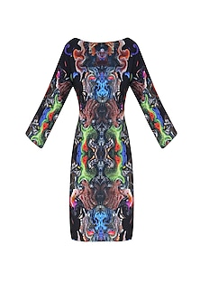 Black Digital Printed Oversized T Shirt Dress by Neha Taneja