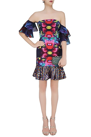 Deep Blue Digital Printed Tube Dress by Neha Taneja