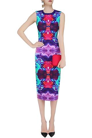 Sea Green Digital Printed Fitted Dress by Neha Taneja