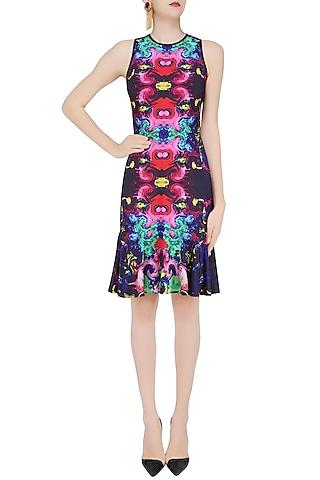 Deep Blue Digital Printed Drop Waist Dress by Neha Taneja