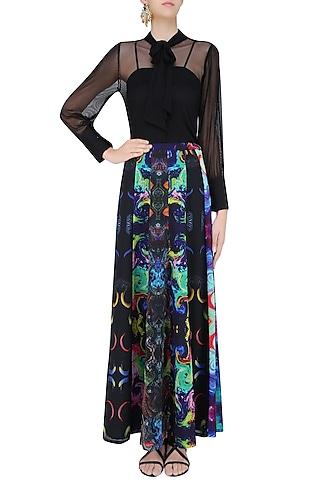 Deep Blue Digital Printed Long Maxi Skirt by Neha Taneja