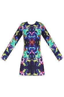 Deep Blue Digital Printed Full Sleeves Top by Neha Taneja