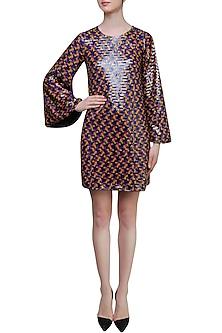 Black Sequins Embellished Short Dress by Neha Taneja