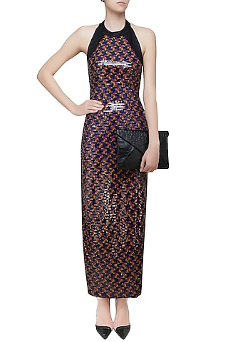 Black Sequins Embellished Long Gown by Neha Taneja