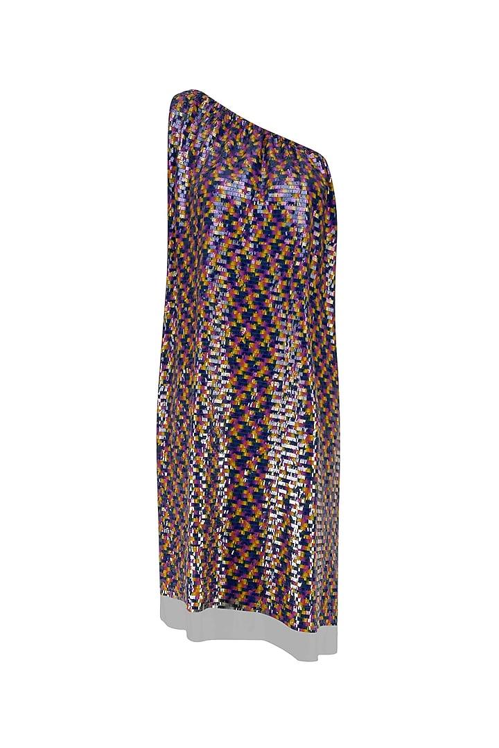 Black Sequins Embellished One Shoulder Loose Dress by Neha Taneja