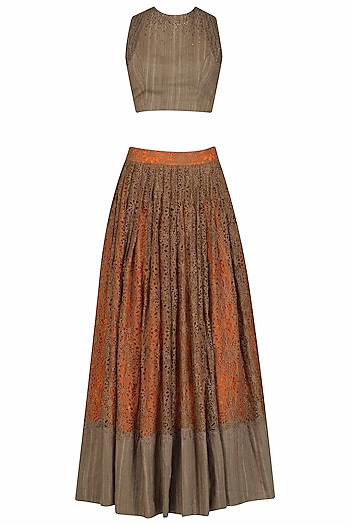 Brown and Orange Shaded Embroidered Lehenga and Blouse Set by Neeta Lulla