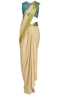 Beige Drape Saree and Blue Floral Work Blouse Set by Neeta Lulla