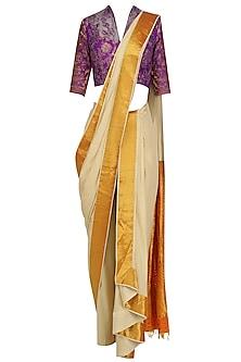 Off White Drape Saree and Purple Floral Blouse Set by Neeta Lulla
