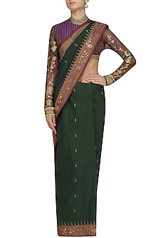 Bottle Green and Red Embroidered Saree with Purple Blouse by Neeta Lulla