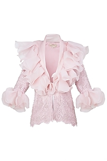 Pink Front Open Ruffled Jacket by Neeta Lulla