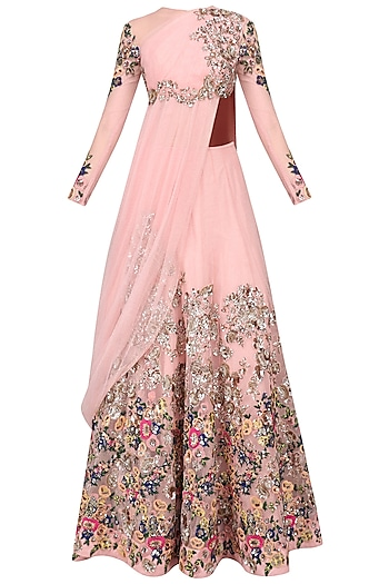 Pink Floral Embroidered Patchwork Lehenga Set by Neeta Lulla