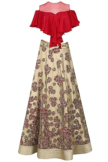 Red Crop Top and Gold Floral Patchwork Skirt Set by Neeta Lulla