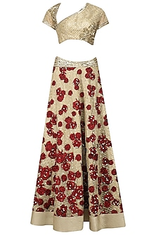 Gold and Maroon Floral Patchwork Lehenga Set by Neeta Lulla