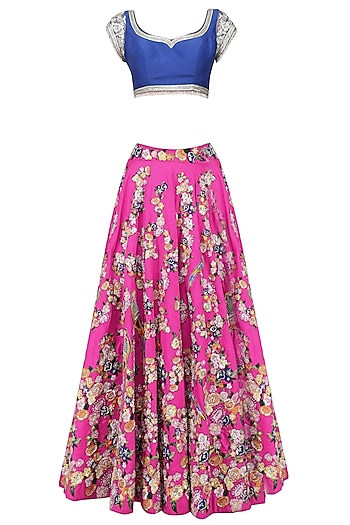 Pink Floral Embroidered Lehenga and Blue Blouse Set by Neeta Lulla