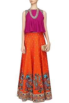 Orange Embroidered Skirt and Pink Flared Top Set by Neeta Lulla