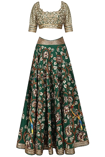 Green Floral Embroidered Lehenga Set by Neeta Lulla