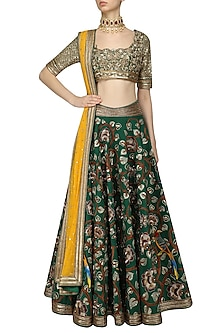 Green Floral Embroidered Lehenga Set by Neeta Lulla
