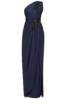 Blue Embroidered One Shoulder Pleated Drape Gown by Neeta Lulla