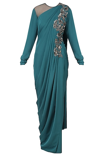Blue Embroidered Long Slit Drape Gown by Neeta Lulla