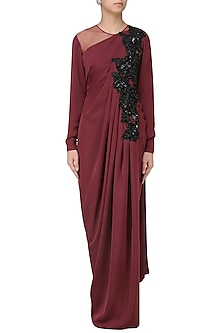 Marsala Cutdana Embroidered Drape Gown by Neeta Lulla