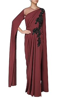 Marsala Embroidred Cape Sleeves Drape Gown by Neeta Lulla