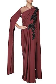 Marsala Embroidred Cape Sleeves Drape Gown by Neeta Lulla